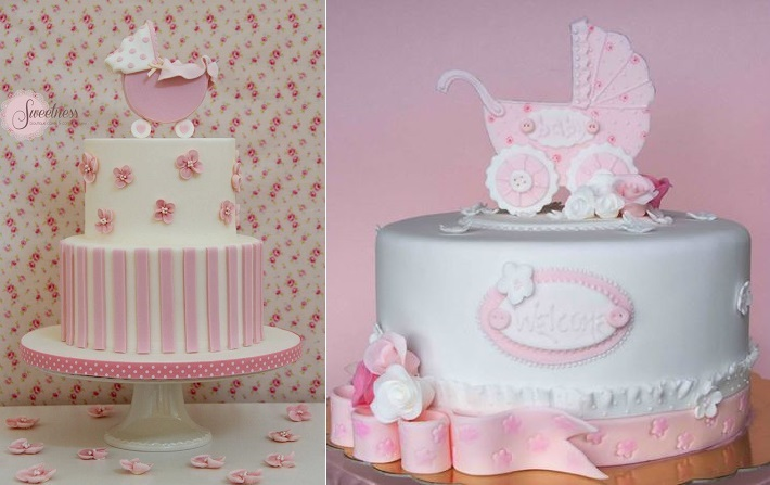 baby carriage cakes by Sweetness Boutique Cakes & Confectionery left and Bubolinkata right