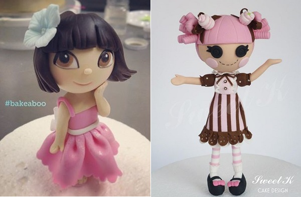 doll cake toppers by Bake-A-Boo left and Sweet K Cake Design right