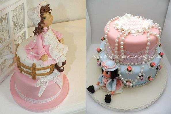 doll cakes by Grain de Sucre Cake Designer left & Stuarty Thornley Cake Design right