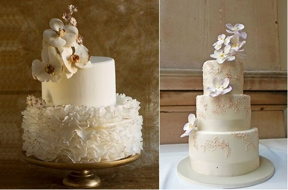 elevated sugar flowers Lina Veber Cake left and Olofson Design right