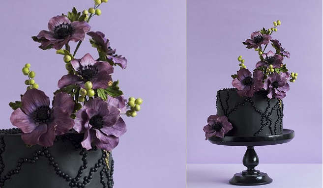 elevated sugar flowers contemporary sugar flower arrangement by Lina Veber Cake