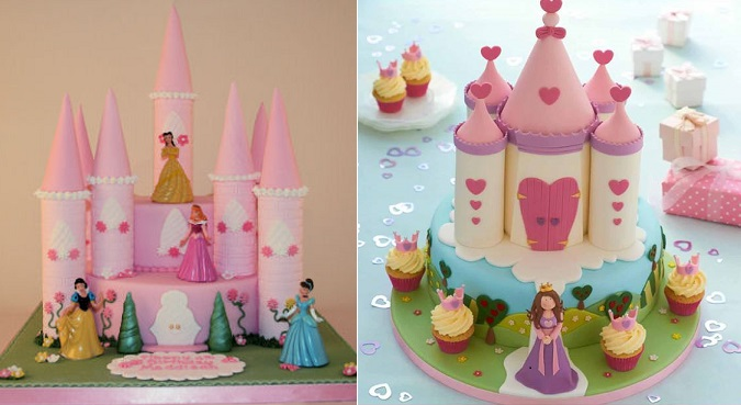 fairytale castle cake by All About Cake UK left and Sandra Monger right for DK Step by Step Cake Decorating