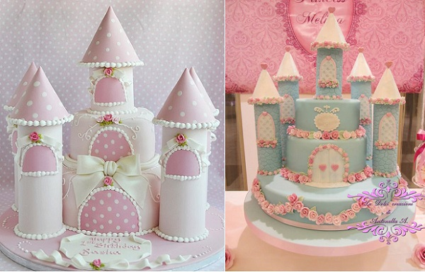 fairytale castle cakes from Deborah Hwang left, The Sweet Designs by Antonella right