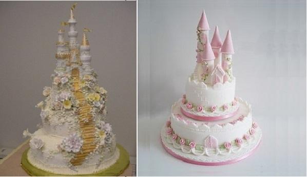 fairytale castle cakes via decofacil.net left, The Sugarcraft Emporium right