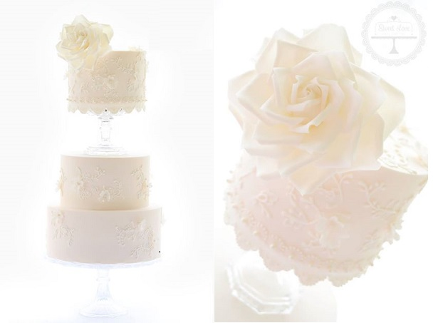floral lace wedding cake by Sweet Love Cake Couture