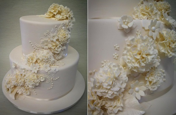 floral lace wedding cake by Sweetums Designer Cakes