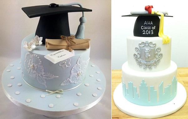 graduation cakes by Edible Essence Cake Art, Plymouth left and Eat Cake Be Merry right