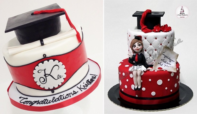 graduation cakes by Sweet & Saucy left and Linda Bellavia Cake Art right