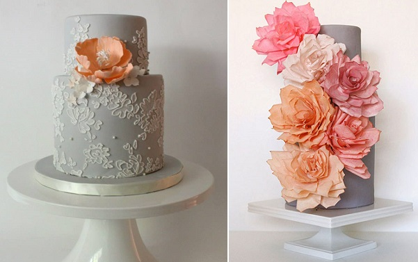 grey and peach wedding cakes by La Fabrique A Gateaux left and Miso Bakes right