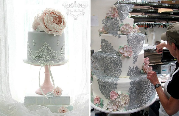 grey lace wedding cakes by Leslea Matsis NZ left and Rosebud Cakes right