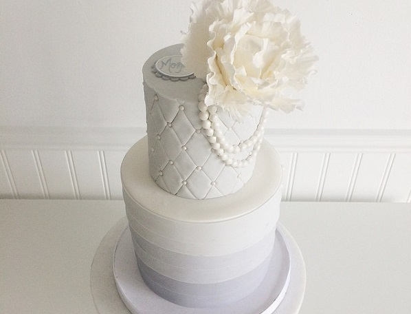 grey ombre wedding cake with quilted detailing by Jenna Rae Cakes