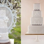 grey vintage wedding cakes via Pinterest left and by The Cake Parlour for Fortnum & Mason right