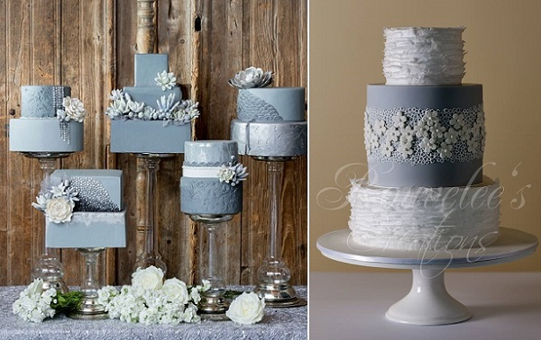 grey wedding cakes by Connie Cupcake, Krista Fox Photography via WedLuxe left, Rouvelee's Creations right