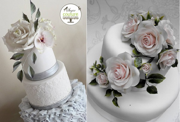 gumpaste foliage and cakes by Sugar Couture Cupcakes left & Caroline's Celebration Cakes right