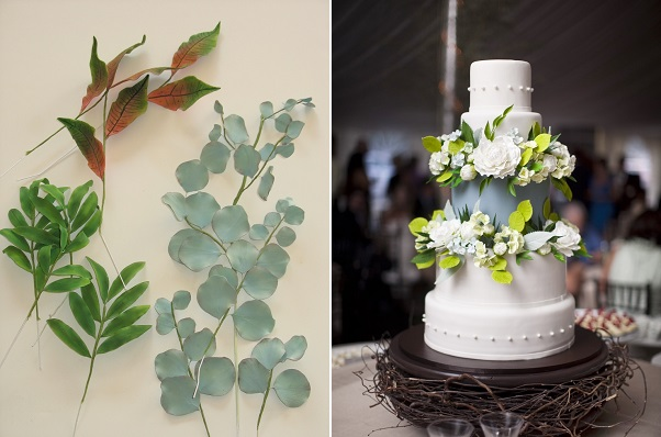 gumpaste foliage on Shaile's Edible Art left, image right by Millie Hollmann Photography