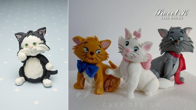 kitten sugar model by Debbie Brown left and cat models by Sweet K Cake Design right