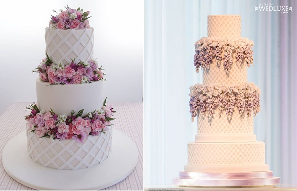 lattice wedding cake by Jean Michel Raynaud for Sweet Art left, right by Bobette & Belle, Image by Ikonica via WedLuxe