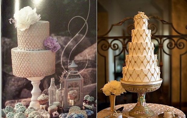 lattice wedding cake designs in gold by The Cocoa Cakery left and Get Amy Cakes, right (Beautiful Day Images)