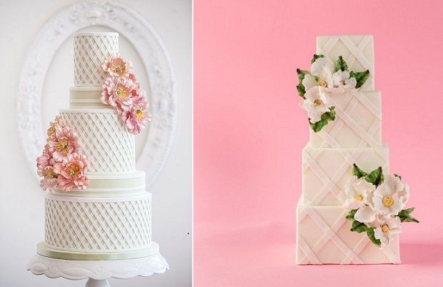 lattice wedding cakes by Bobbette and Belle left and Sophie Bifield Cake Company right