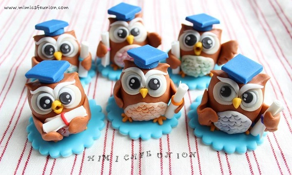 owl cupcake topper graduation cake by Mimicafe Union