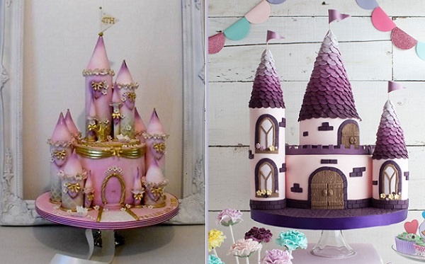 princess castle cakes by Dee's Sweet Surprises, left Doric Cake Crafts right