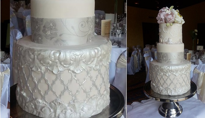 silver Moroccan lattice wedding cake by Cocoamoiselle Cakes, Dublin