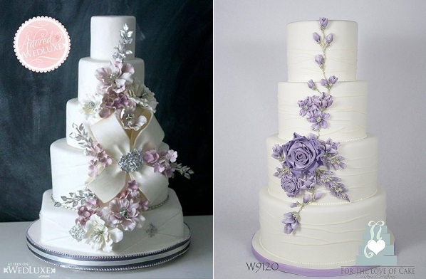 sugar flower arrangement by The Caketress left and For The Love of Cake right