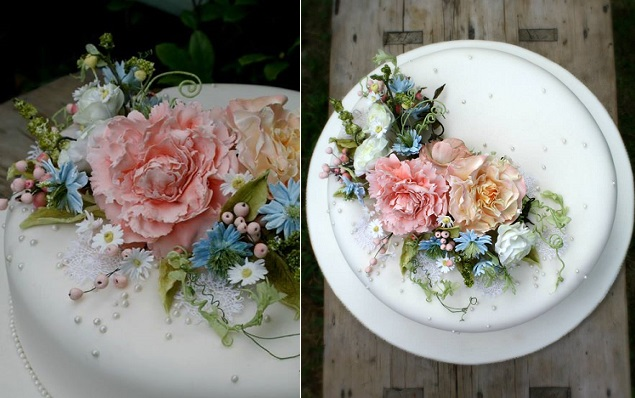 sugar flowers and sugar foliage cake by Amy Swann