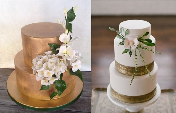 sugar foliage cakes by The Vagabond Baker left and via Pinterest right