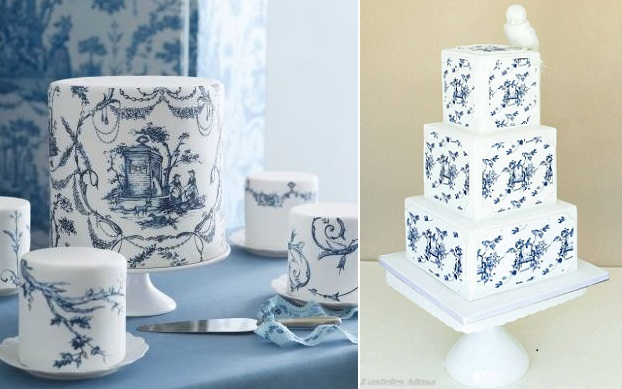 toile cake designs from Cake Opera left and Pasteles Alma right