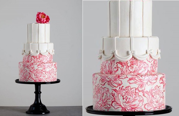 toile wedding cake in red and white from Great Cake Decorating by Erin Gardner