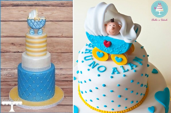 vintage baby carriage cakes by Cuteology Cakes left and Slodko w Ustach, Poland right