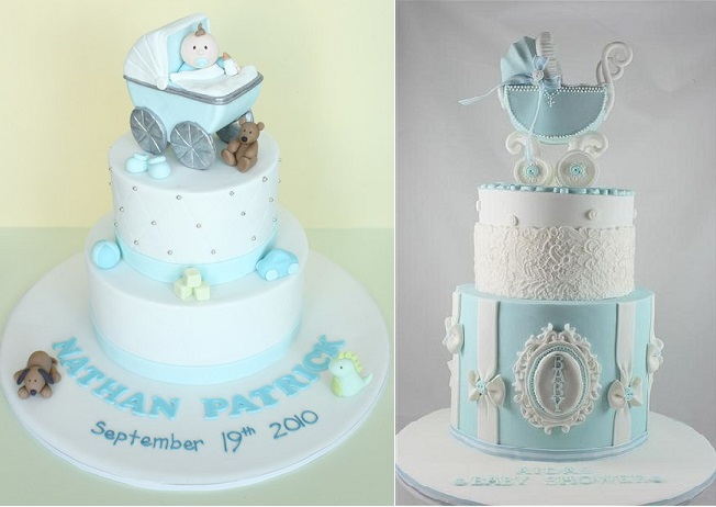 vintage baby carriage cakes by Sharon Wee Creations left and Cake by Kim AU right