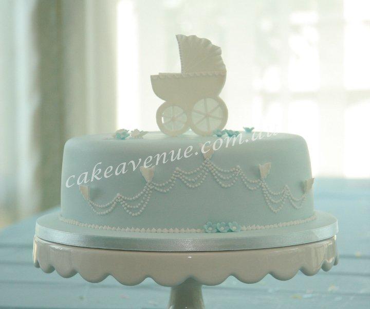 vintage pram baby cake by Cake Avenue