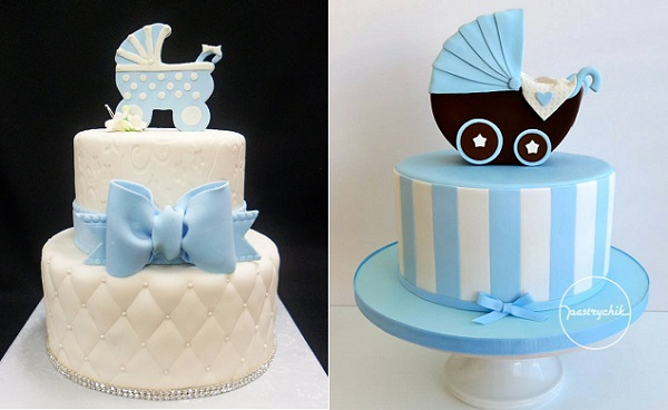 vintage pram cakes by Cake Studio LA left and Pastrychik right