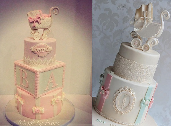 vintage pram cakes by Sift by Kara left and Cake by Kim AU right