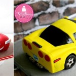 3D car cakes by Bake A Boo Cake design left and McGreevy Cakes right