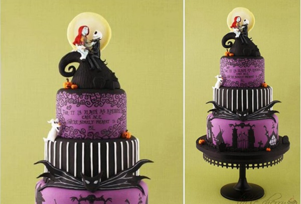 Halloween wedding cake Time Burton style by The Little Cherry Cake Co