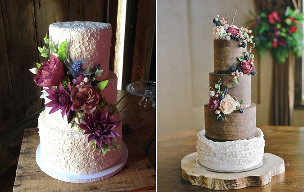 autumn wedding cakes by Wild Orchid Baking Co left, Sweet & Swanky Cakes, Jose Villa Photography, right