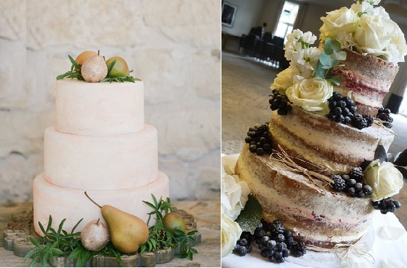 autumn wedding cakes from Picoletti Pears left, Scrummy Mummy's Cakes,right