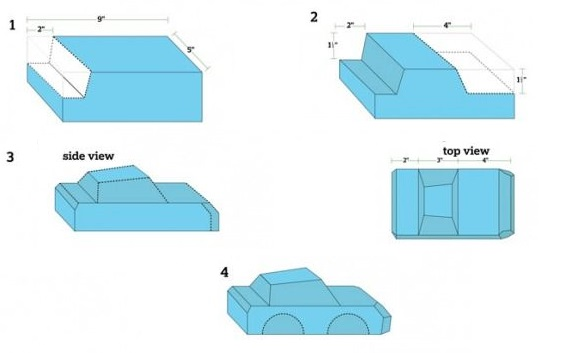 car cake scultping cutting guide from Parenting.com