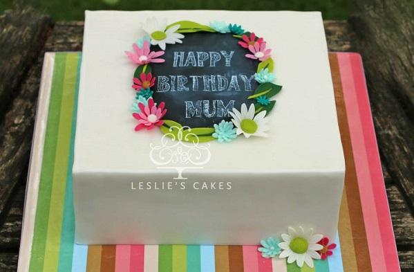 chalkboard birthday cake by Leslie's Cakes
