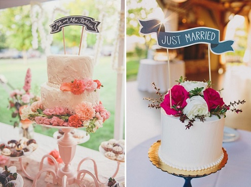 chalkboard cake toppers banners The Cheesecake Store via Wedding Chicks left, Lauren Fair Photography via Style Me Pretty right