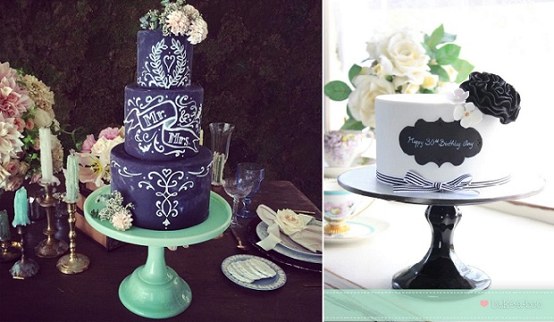 chalkboard cakes by The Vanilla Bake Shop left, Bake A-Boo Cake Design right