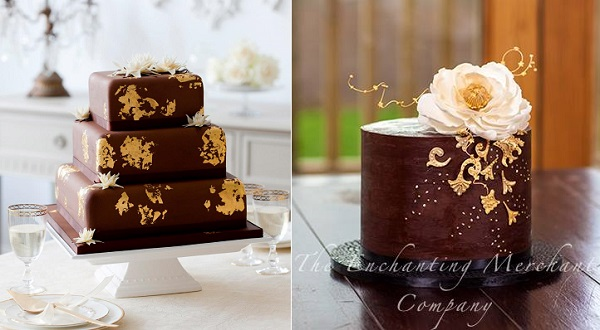 chocolate and gold leaf cakes, Victoria's Cake Boutique, Laura Forrester Photography left, The Enchanting Merchant Co right