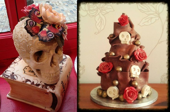 chocolate halloween wedding cake by Adventures in CakeyLand, chocolate skull by Choccywoccydoodah