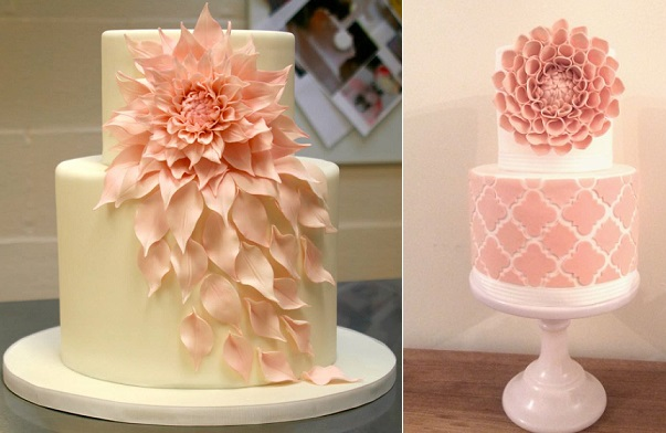 dahlia cakes by Ana Parzych Cakes left, Zoe Smith Bluebird Cakes right