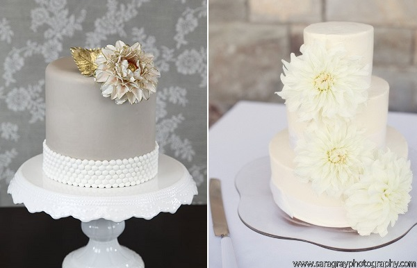 dahlia cakes by Global Sugar Art left, Fleur Cakes right