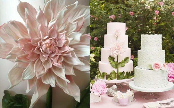 dahlia wedding cake, Cakes by Krishanthi, Photo by Meg McKay for Wedding Magazine