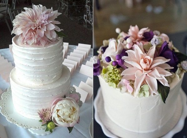 dahlia wedding cake by The Cake Diva, gumpaste dahlia by Sugar & Stripes Co. on Etsy